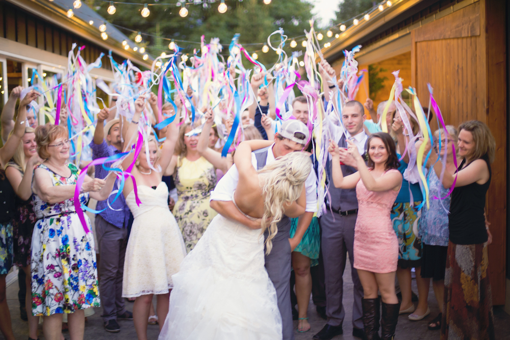 colorful wedding streamers