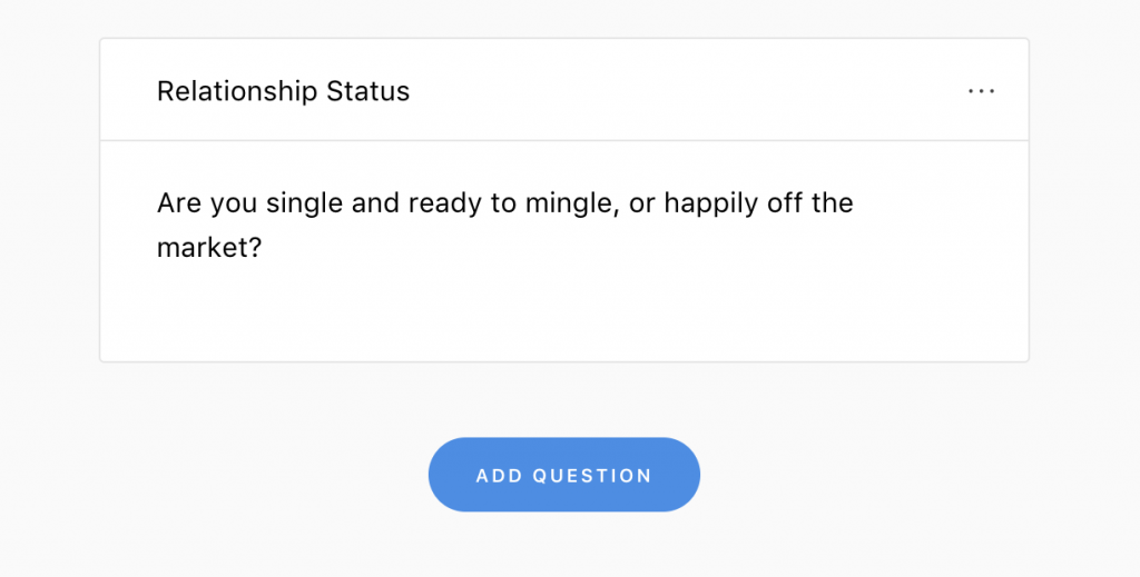 Relationship status on Joy's online RSVP tool
