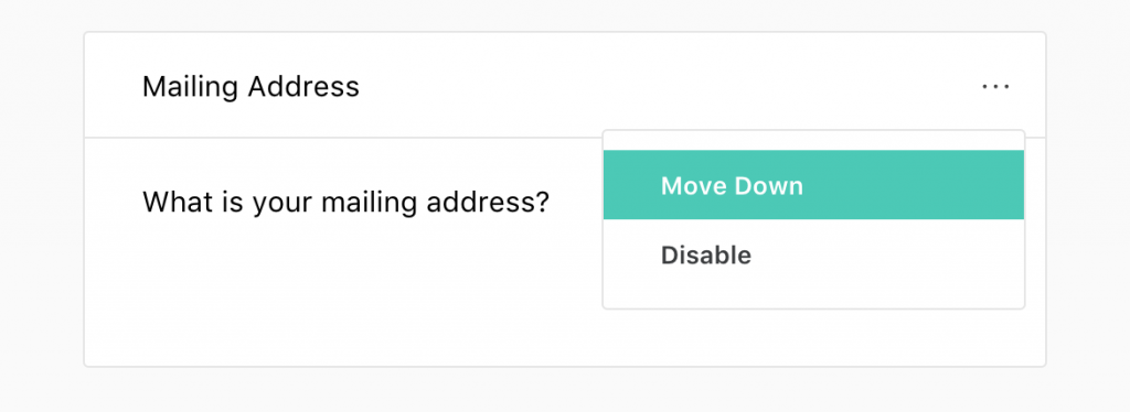 Mailing address field for Joy's online RSVP tool